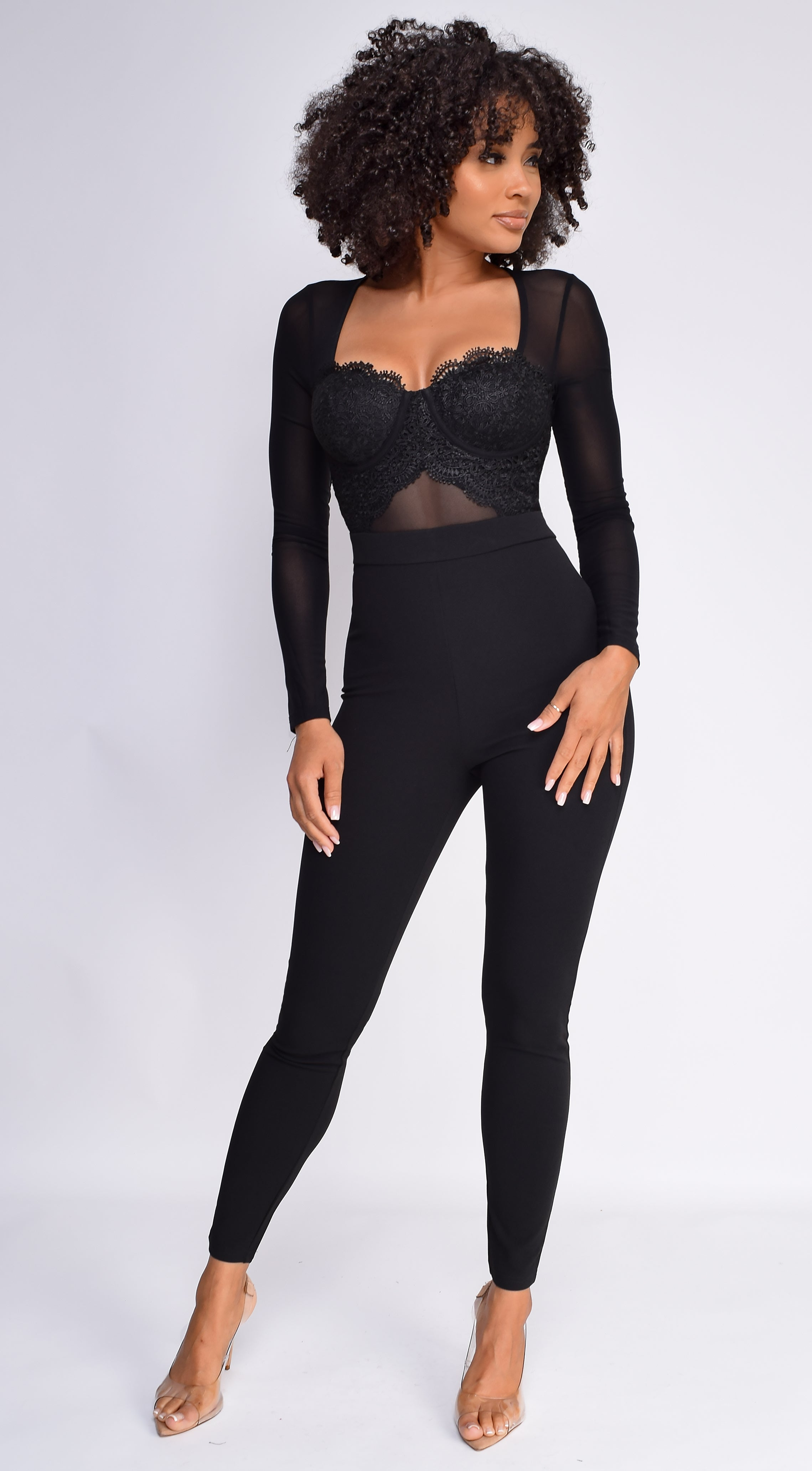 Lanora Black Scalloped Lace Bustier Mesh Jumpsuit