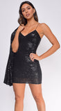 Monica Black Sequin Dress And Jacket Set