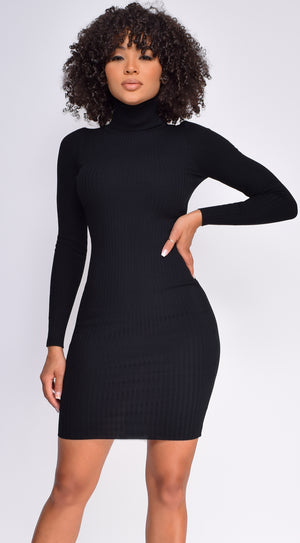 Londyn Black High Neck Ribbed Dress