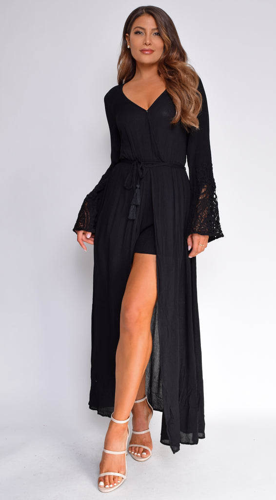 Delana Black Long Sleeve Kimono Boho Dress