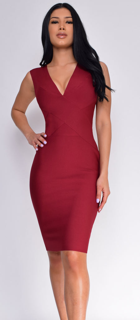 Anniston Burgundy Red Bandage Dress - Emprada