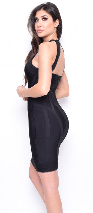 Oriel Black High Neck Ruffle Detail Bandage Dress