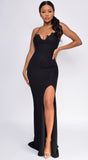 Christiana Black Floral Lace Applique High Side Slit Gown