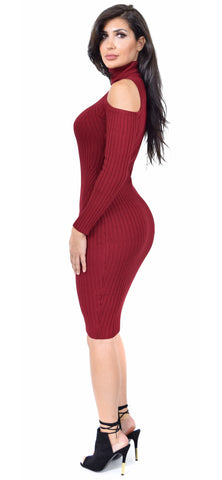 Audrina Mock Neck Burgundy Cold Shoulder Dress