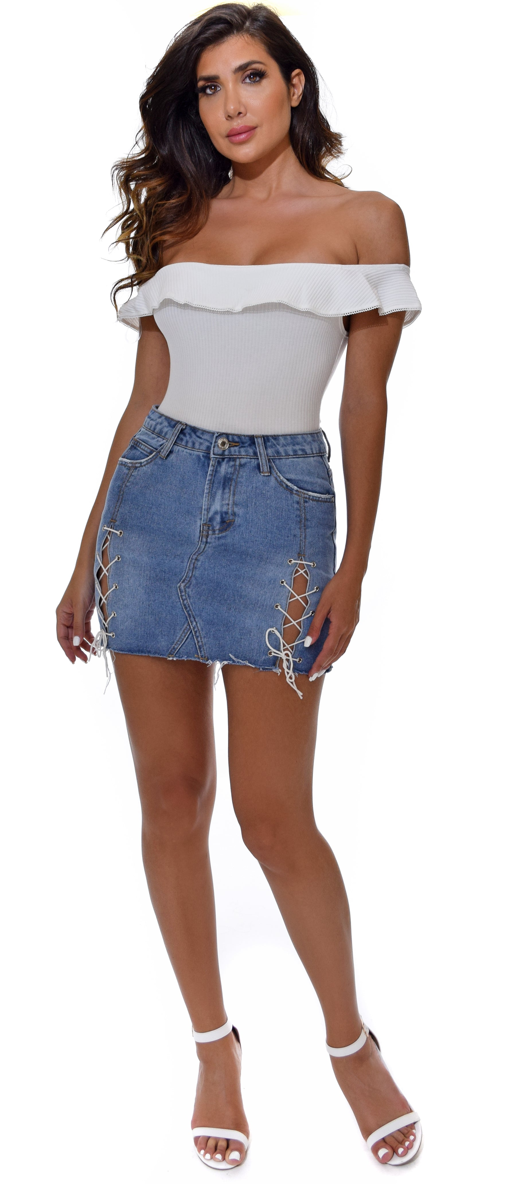 Out For The Day Medium Wash Lace Up Denim Skirt