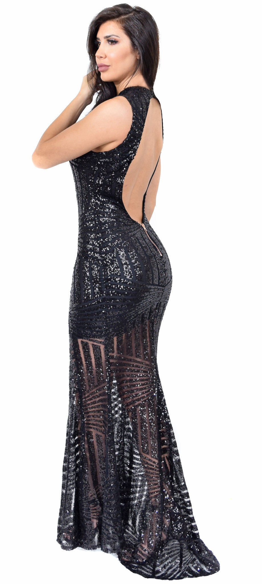 c17d1053f5 Yara Black Sequin Open Back Gown - Emprada