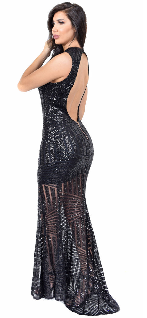 Yara Black Sequin Open Back Gown - Emprada