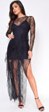 Zorana Black Mesh Lace Long Sleeve Ruffle Dress