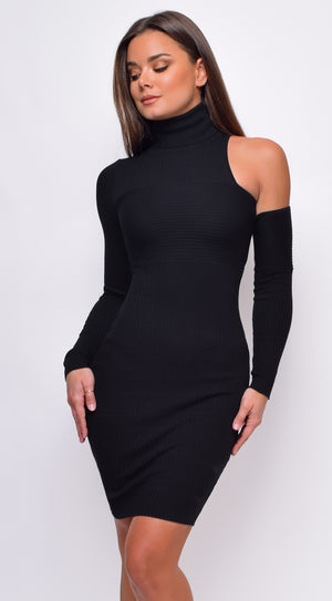 Saskia Turtle Neck Ribbed Long Sleeve One Shoulder Mini Dress