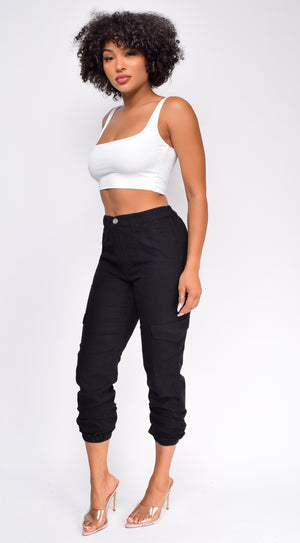 Emme Black Side Pockets Cargo Jogger