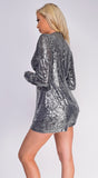 Jayden Silver Sequin Jacket And Short Set