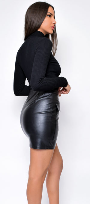 Kendy Black Ribbed Turtleneck Bodysuit