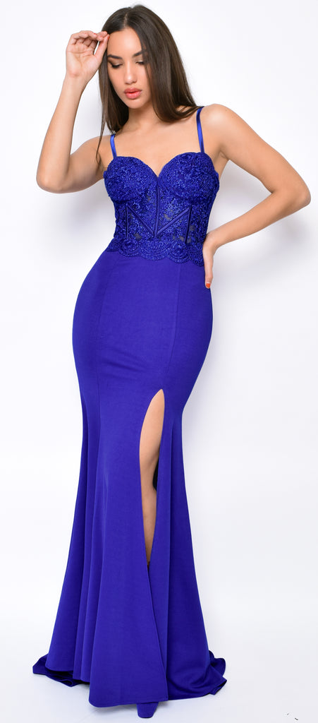 Aubrianna Royal Blue Lace Bustier Slit Gown - Emprada