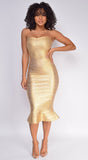 Belice Gold Strapless Fluted Bandage Dress