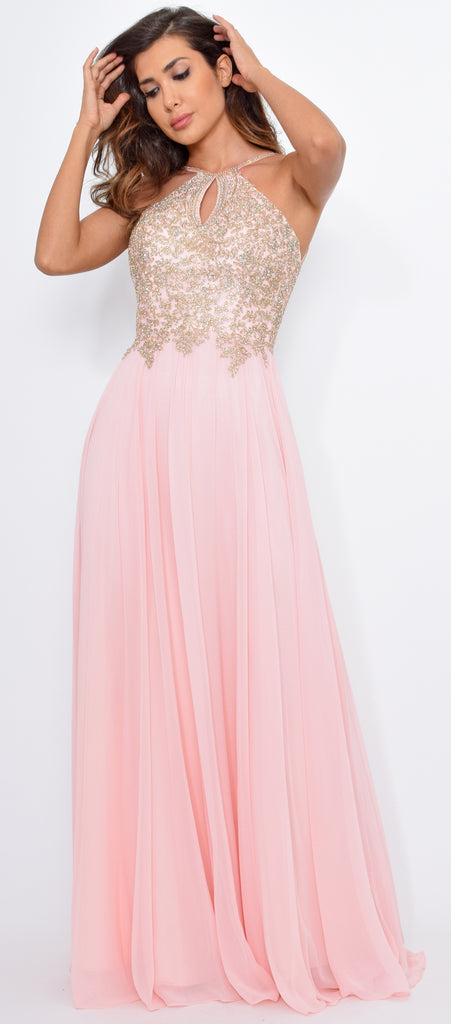 Cariana Blush Pink Gold Embroidered Gown - Emprada