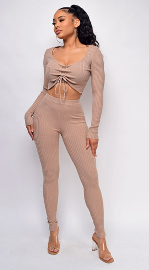 Jermaine Beige Taupe Ribbed Set