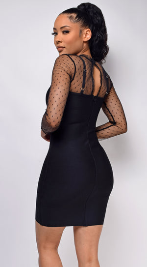 Nikki Black Mesh Bandage Dress
