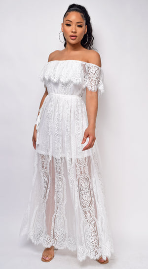 Elish White Off Shoulder Ruffle Lace Dress