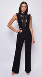Vanna Black Crochet Flared leg Jumpsuit