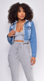 Myka Denim Blue Grey Hooded Zip Up Jacket