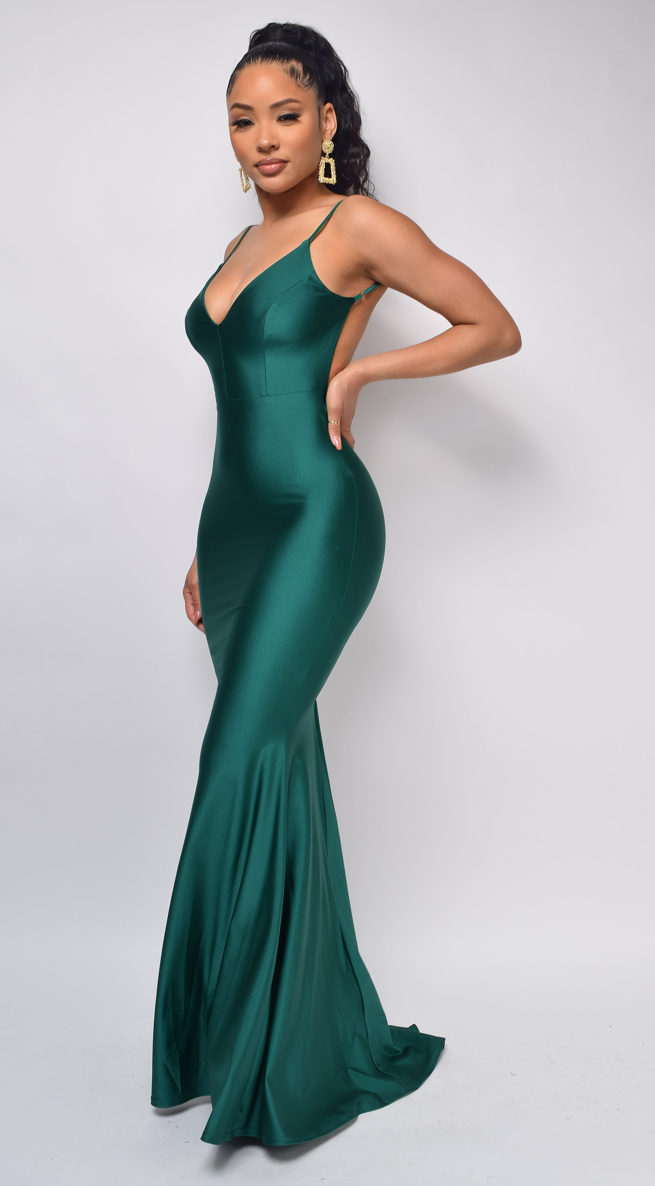 Mavin Emerald Green V Neck Low Back Gown