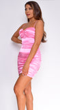 Ardella Hot Pink Satin Ruched Dress
