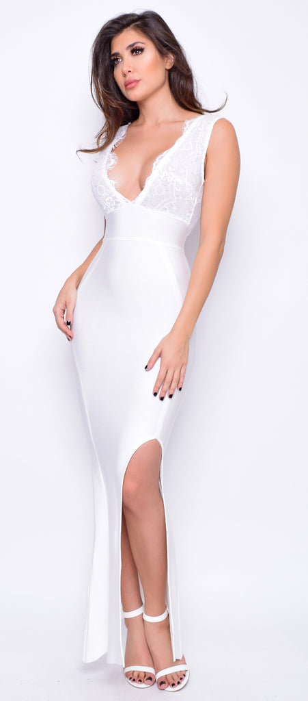 Jezebel White Lace Trim Bandage Maxi Dress