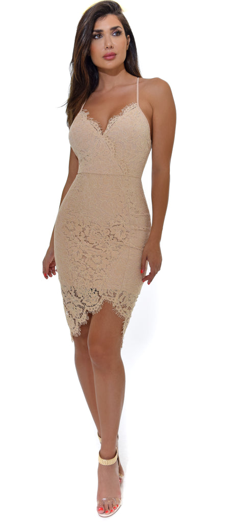 Taline Nude Beige Lace Dress