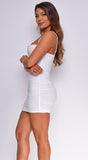 Vallie Off White Ruched Mini Dress