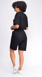 Nia Black Crop Drawstring Top And Short Set