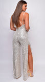 Cherelle Silver Nude Sequin Double Side Slit Wide Leg Jumpsuit