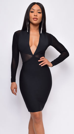 Heartbreak City Black Plunge V Neck Mesh Bandage Dress