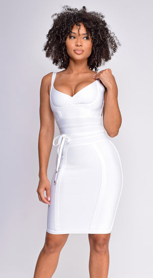 Lucila White Belted Bandage Dress