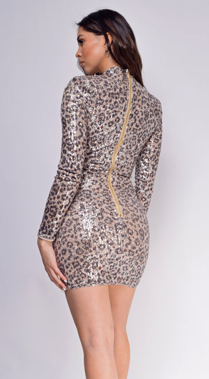 Wynter Leopard Brown High Neck Sequin Dress