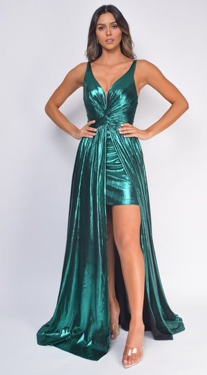 Emoni Emerald Green Metallic Gown