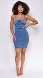 Pomelita Blue Dark Acid Wash Denim Mini Dress