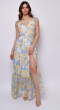 Sweet Sunset Blue Yellow Print Cap Sleeve Wrap Maxi Dress