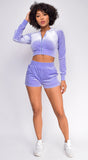 Tempted to Touch Lilac Purple Velour Crop Hoodie Shorts Set