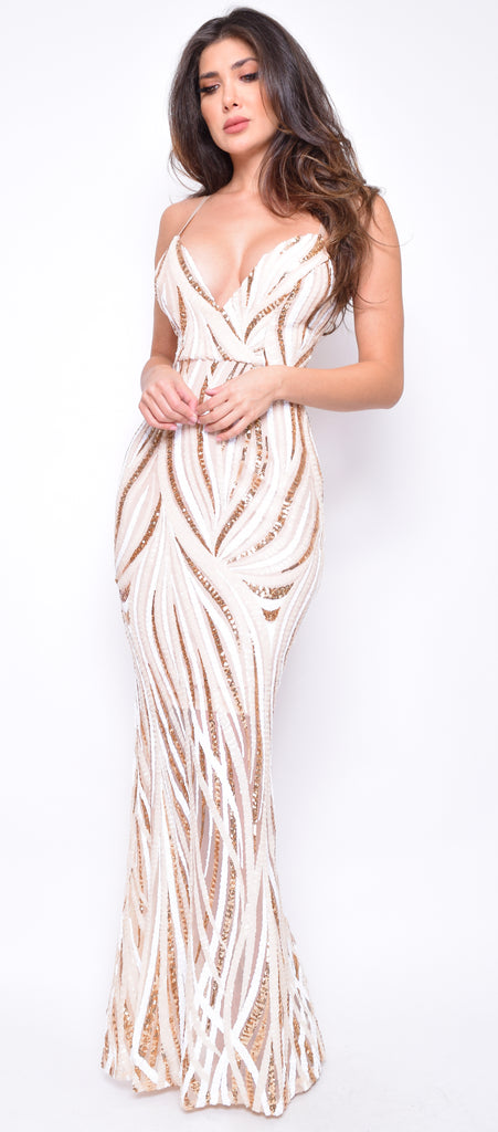 Winslet Gold White Multi Sequin Gown