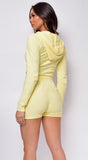 Kourt Yellow Fuzzy Crop Hoodie Shorts Set