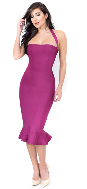 Kayden Plum Mermaid Bandage Dress - Emprada
