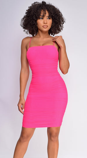 Ariya Neon Pink Ruched Mesh Dress