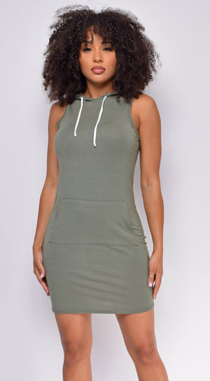 Reva Olive Green Sleeveless Hoodie Dress