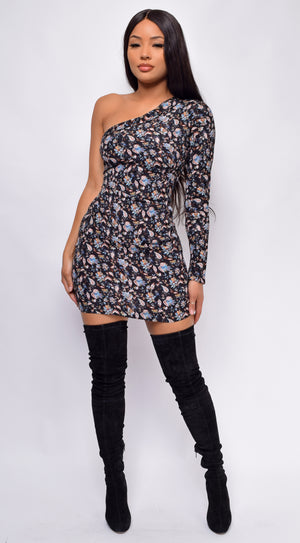 Alexandra Black Floral Print One Shoulder Dress