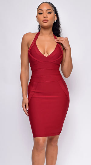 Amada Red Halter Neck Bandage Dress