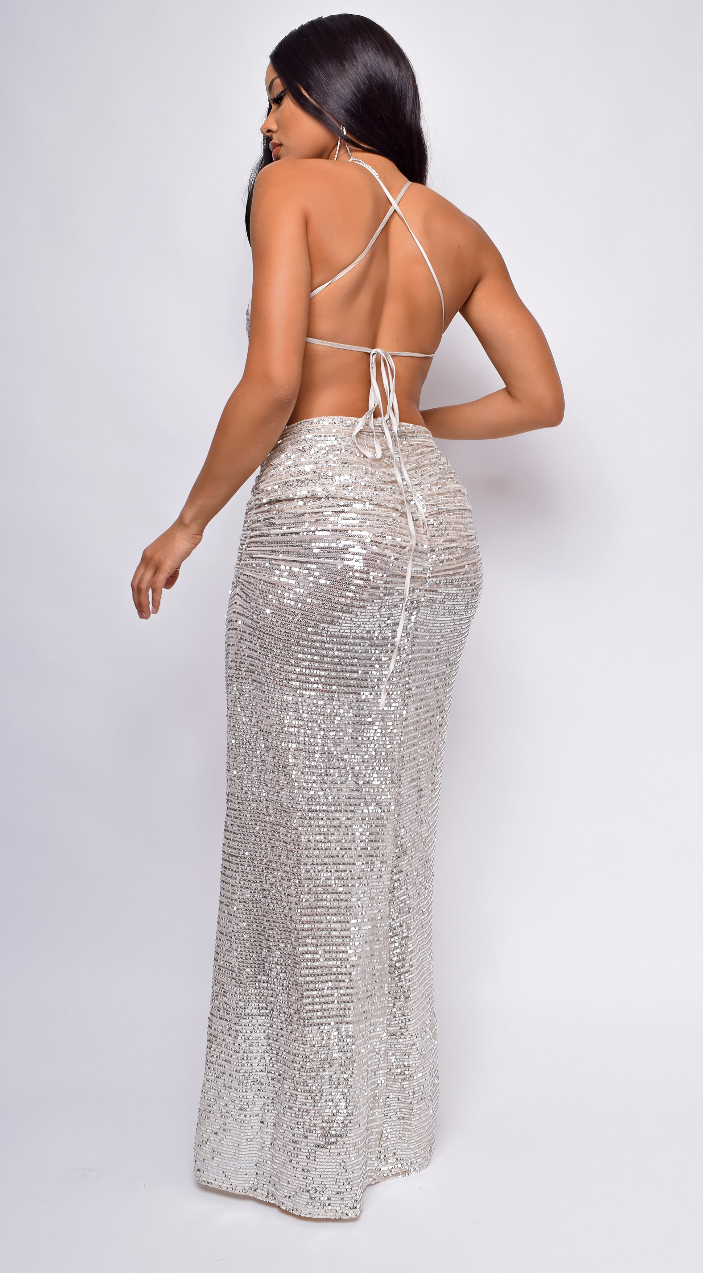 Azara Nude Silver Open Cross Back Sequin Gown