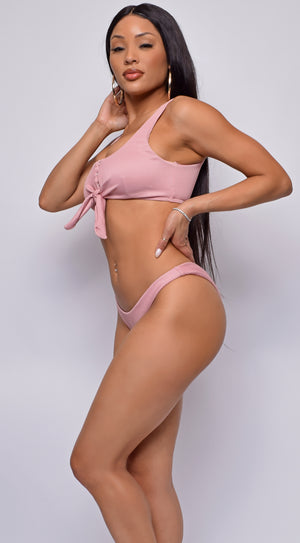 Sweet Summer Pink Knotted Front Rib Tankini Set