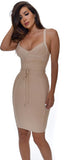 Lucila Taupe Belted Bandage Dress