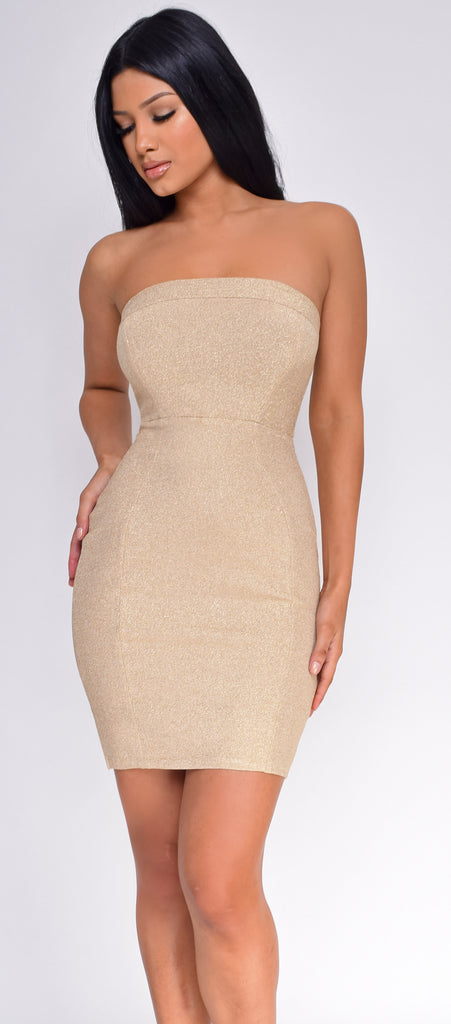 Landa Gold Glitter Tube Dress