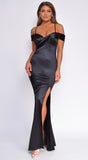 Kaylyn Black Off Shoulder Satin Maxi Dress